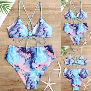 Women Swimwear Tie-dye Bikini Set Bowknot Sexy Buckle Bathing Suit Push Up Brazilian Biquini 2021 Swimsuit High Leg Beachwear Women's
