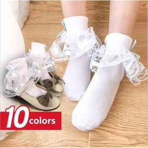 Sweet Girls Kids Frilly Satin Lace Cotton Socks Princess Lace Bow Soft Trim Baby Toddler Short Socks High Quality 4sizes 1-10Y