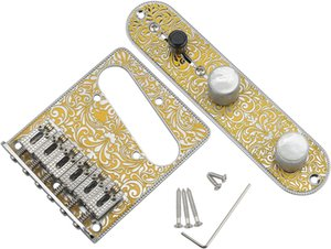 Unxuey Metal Electric Guitar 6 Strings Saddle Bridge Plate with 3 Way Switch Control Plate and intonations screws for Fender