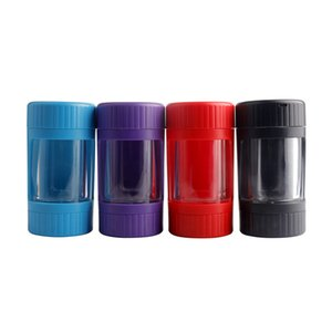 Contenitore di stoccaggio del barattolo di Glow LED 7 colori 12.5 * 6.5mm Lente d'ingrandimento Stash Mag con pipa di fumo Grinder