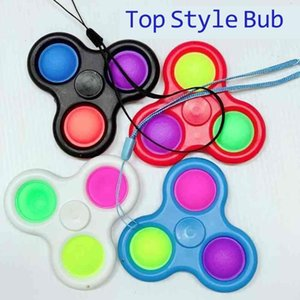 Lanyard Fidget Spinner Toys Push Bubble Pop It Simple Dimple Key Ring Sensory 손가락 기포 키 체인 손가락 완성 성인 스트레스 구호 압착 공 G33I2OY