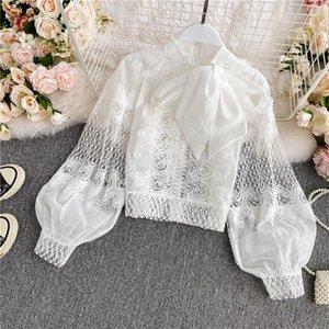 Korean Blouse Women 2021 Spring Lantern Long Sleeve Loose Lace Hollow Tops Women's Temperament Ladies Bow Shirt Vestidos Blouses & Shirts