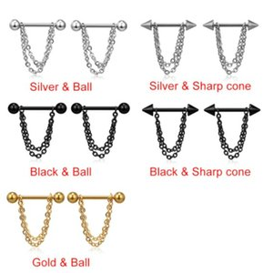 1Pair Stainless Steel Nipple Breast Rings 14G Nail Barbell Gold Silver Black Steel Chain Pendant Body Piercing Jewelry