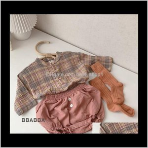 T-Shirts Tops &Tees Clothing Baby, & Maternity Drop Delivery 2021 Tlk Ins Korean Born Kids Plaid Shirts Linen Cotton Shorts Front Buttons Qua