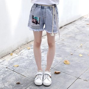 Girls Denim Shorts Summer High-waisted Kids Pants Washed Ripped All-match Raw Edges Trousers