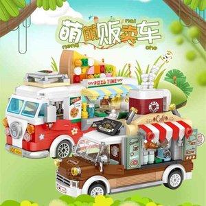 Loz Mini Blocks City Street View Série Fruit / Crème glacée / Pizza / Café / Café Vendre Turcks drôles de soulagement de pression 210330