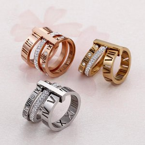 Ring Stainless Steel Rose Gold Roman Numerals Ring Fashion Jewelry Ring Women's Wedding Engagement Jewelry dfgd