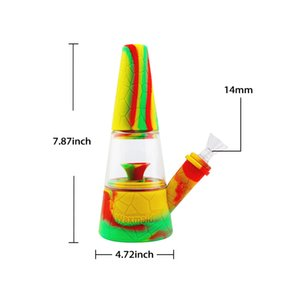 Waxmaid retail 7.87 inches silicone glass bong hookah smoking dab rigs oil burner six mixed colors ship from CA warehouse