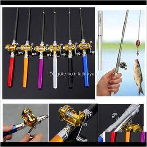 Baits Lures Mini Pocket Telescopic Pole Aluminum Alloy Pen Lightweight Portable Shape Folded Fishing Rods With Reel Wheel Zza2751 Keas 4P7H3