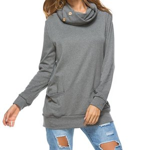 Women Turtleneck Short Sleeve Cotton Solid Casual Blouse Top Shirt Plus Size Loose Long Pocket Womens Tops Women's Hoodies & Sweatshirts