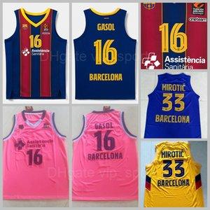 Man Barca Lassa 16 Pau Gasol Jerseys Basketball BR 24 Kyle Kuric 33 Nikola Mirotic 22 Cory Higgins 10 Rolands Smits Baloncesto Shirt Red Blue Pink EuroLeague Endesa