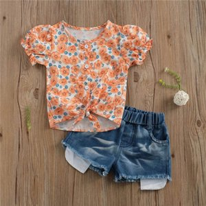 Baby Clothing Sets Girls Outfits Kids Clothes Children Suits Wear Summer Cotton Short Sleeve Flower T-shirts Hole Shorts Jeans Pants 2Pcs 1-5Y B5055