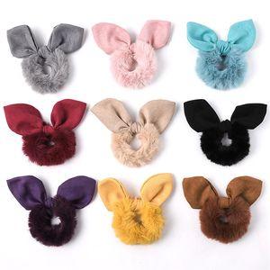 Scrunchie estiramiento diadema scrunchies mujeres niñas elástica conejo orejas arco bandas de pelo accesorios de piel sintética piel pelo tocado 50pcs 1058 v2