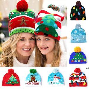 Led Snowman Knitted Beanies Cap For Snowflake Christmas Tree Women Children Warm Hair Ball Light Up Hip-Hop Hats HWB10480