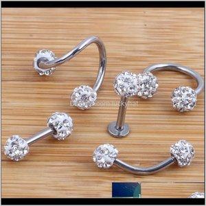 Labret Piercing Crystal Ball Lab Lip Nariz Tragus Septum Anillo Twist Barly Bar Ear Bone Cebolla Cartílago Pendiente Joyería Cuerpo YGB8M 5NMU1