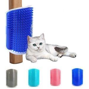 Corner Pet Brush Comb Play Toy Plastic Scratch Bristles Arch Massager Self Grooming Cat Scratcher