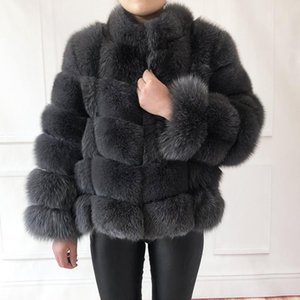 Women's Fur & Faux 100% True Coat Warm And Stylish Natural Jacket Vest Stand Collar Long Sleeve Leather Coats