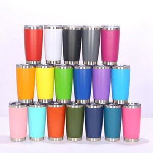 12 Color 20 oz Taza de bebida Vaso con tapa de acero inoxidable Copa de vino Vacuum Copa aislada Tazas de viaje JJA58