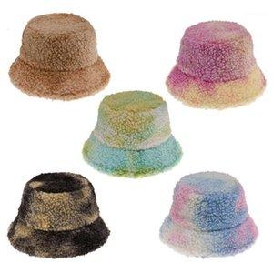 Women Men Winter Warm Fluffy Plush Bucket Hat Colorful Tie-Dye Printed Short Brim Sunscreen Hip Hop Panama Fisherman Cap1