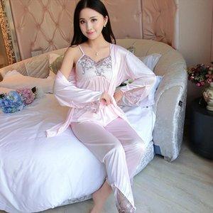 Summer Satin Pajama Set Womens Sleepwears Soft Silk 3 Lace Transparent Tops Sexy Sleepwear Ladies Spaghetti Strap Piece Nightwear