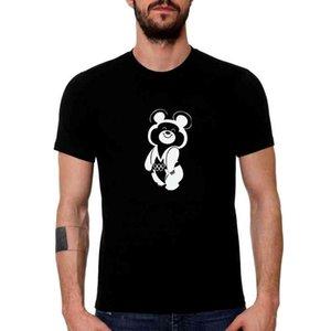 T Gömlek HT0003 # Olimpik Ayı 1980 Siyah Erkekler erkek Üst Yaz Tshirt Moda Serin Yuvarlak Yaka Kısa Kollu