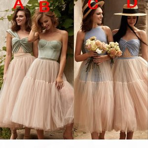 Modest Sexy Ice Blue Mint Green Cheap A Line Bridesmaid Dresses One Shoulder Jewel Neck Tulle Satin Maid Of Honor Dress Wedding Party Dress