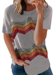 Женская футболка женщин с коротким рукавом Crewneck TEE рубашка свободная повседневная полоса верхняя поперечная шейка волнистые радужные полосы напечатаны с короткими рукавами