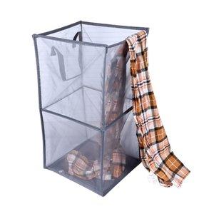 Magic folding mesh laundry basket household storage