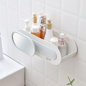 Bathroom Storage Rack With Mirror Bedroom Toilet Vanity Tables Rach Punch Free Bathing Make Up Case Organizer Boxes & Bins