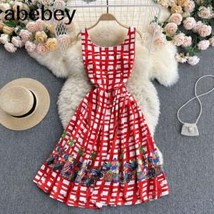 Women Retro Print Plaid Tank Korean Sleeveless O Neck Casual Loose Dresses Summer Fashion Vacation Midi Dress 210415