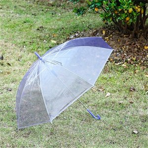 Clear Transparent Rain Umbrella PVC Rain Dome Bubble Rain Sun Shade Long Handle Straight Stick Umbrella T0484 613 R2