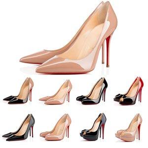 Женщины высокие каблуки красные днища платье обувь кожаные заостренные пальцы насосы черный загар Открытый размер 35-43 с коробкой и мешок для пыли 010
