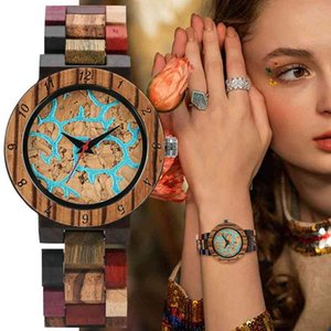 Vogue Irregular Blue Lines Women Fashion Vintage Mixed Color Wooden Bracelet Watch Women's Wrist Reloj Mujer