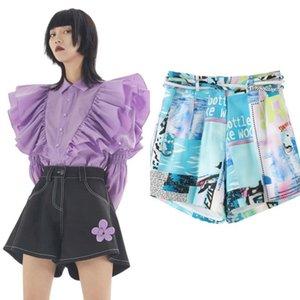 Australische Frühlingsmode Zwei Stücke Shorts Rüschen langärmeliges Hemd + Wide-Bein-Shorts