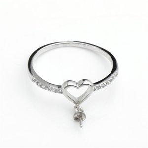 Hopearl Takı 925 Ayar Gümüş Ayarları Zirkon Kalp Yüzük Boş DIY Bulgular Inci Dağı 3 Parça