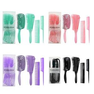 Hair Brushes 652C 4pcs Anti-Static Comb Detangling Brush Scalp Massage Combs Styling Tools
