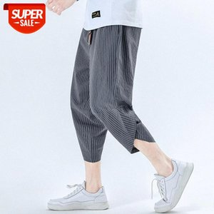 New Men Summer Cotton Linen Harem Pants Fashion Baggy Casual Loose Cropped Drawstring Male Trousers Streetwear #gD8j