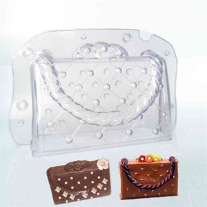 DIY Plastic Chocolate Mould 3D Handmade Cake Lady Bag Chocolate Mold Polycarbonate Bag Fondant Candy Cake Decorating Tools Molds 210408