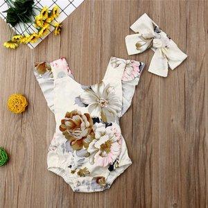 New Baby Rombiper Packsuits Floral Print Backless без рукавов без рукавов Ruffled Girl Romber + повязка на голову 2 шт. Установить INS INS INS