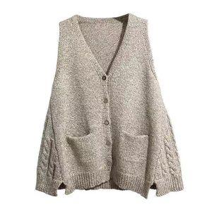 Sweaters Ladies Knitted Vest neckline Korean wild cotton sweater loose autumn and winter sleeveless dollar off