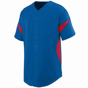 656433 Пустой пользовательский бейсбол Джерси мужчины женщин размер S-3XL белая кнопка вниз пуловер