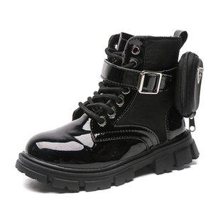 Boots Girls 2021 Осень Одиночный модный британский стиль короткие дети плюс бархатный кожаный шик