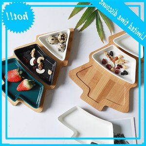 28cm Full Set Ceramic Bamboo Christmas Tree Snack Fruit Bowl Dish Plate Tableware Breakfast Tray Kitchen Home Supply
