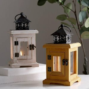 Candle Holders Nordic Wooden Vintage Holder Hanging Coffee Table Bars Candlestick Lantern Wall White Candelabros Room Decoration ZZ50ZT