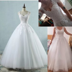 Ball Gowns Spaghetti Straps White Ivory Tulle Bridal Dress For Wedding Dresses 2-26W Pearls Marriage Customer Made
