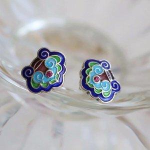 Silver Enamel Blue Earrings Original Retro Minority Design Chinese Style Ethnic Women Elegant Jewelry Stud