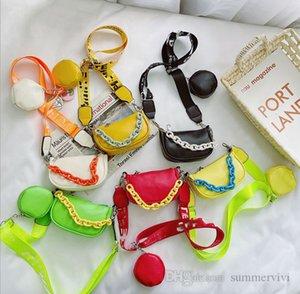 Kids chain handbags girls letter printed straps single shoulder casual bag children purse pendant messenger bags Q2150