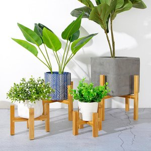 Planters & Pots Free Standing Bonsai Holder Home Balcony Wood Flower Pot With Foot Pad Smooth Surface Modern Shelf ADW889