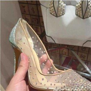 Весна лето элегантные стили женские туфли горный хрусталь высокие каблуки кристаллы заостренные носки сетки насосы женщины красные единственные свадебные туфли