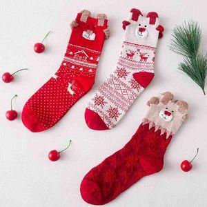 Autumn and Winter Christmas cotton women's big red festive new year three-dimensional cartoon socks